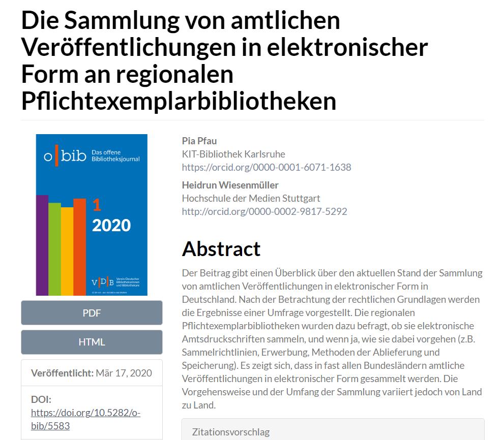 Aufsatz über amtliche Veröffentlichungen in elektronischer Form an regionalen Pflichtexemplarbibliotheken