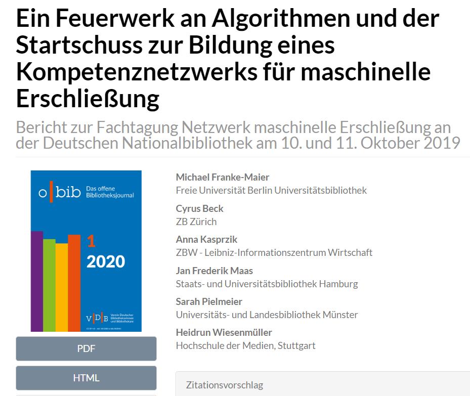 "Bericht zur Fachtagung ""Netzwerk maschinelle Erschließung"" an der DNB"