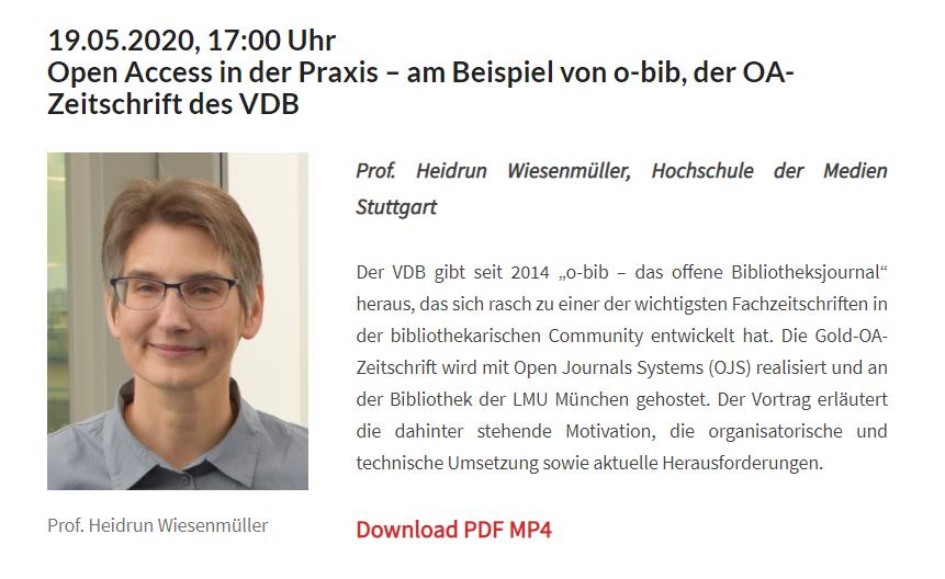 "Webinar zu ""Open Access in der Praxis"""